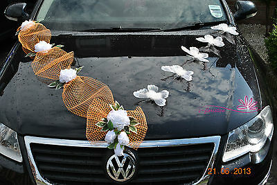 white roses and butterflies , flower wedding car decoration kit (RMBS)