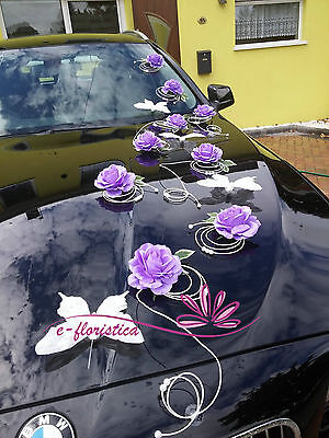 purple roses and white rattan , flower wedding car decoration kit (RFMI)