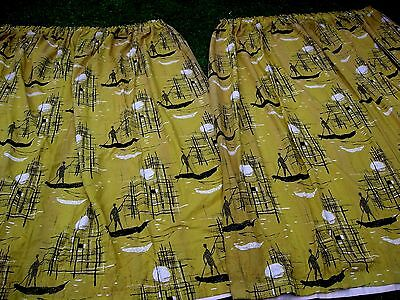 "Vintage 50s large pr dramatic Gondola boat yellow curtains marked 93""X 90""each"
