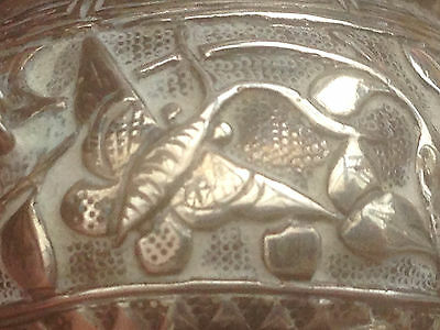 Rare Pair Antique Chinese Export HING Silver Salt Cook Pots Cauldron Butterfly