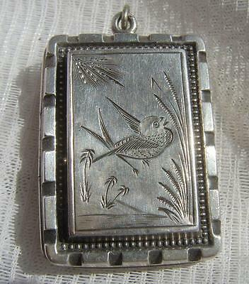 Victorian Sterling SILVER Aesthetic Period H/M 1880 Large Rectangular Locket