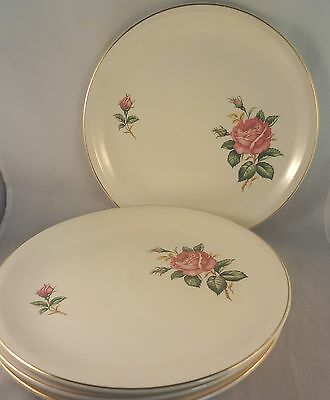 RED ROSE by PADEN CITY DINNER PLATES (Set of 5) Roses Buds Gold Trim