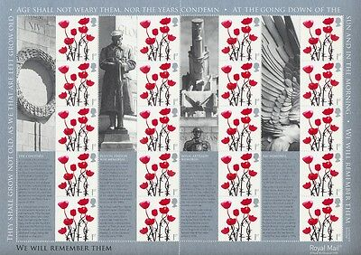 LS35 2006 Lest We Forget Royal Mail GB Generic Smilers Sheet MINT