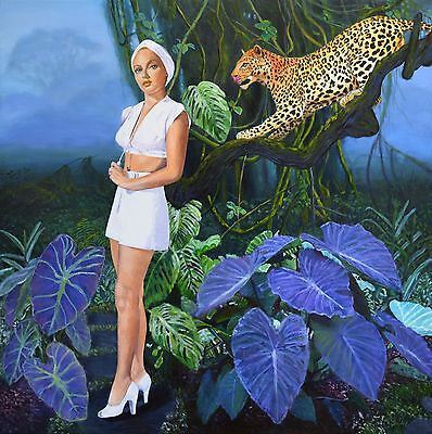 Original painting on canvas leopard botanical african landscape Jane Ianniello
