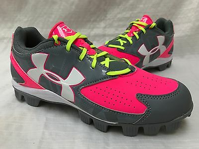 NEW! Under Armour Women's 1264181-065 Glyde RM Softball Cleats Pink/Gray L32