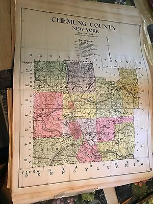 Chemung County Map from 1910 New Century Atlas of New York State