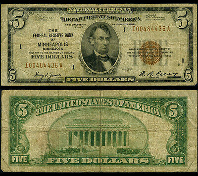 FR. 1850 I $5 1929 Federal Reserve Bank Note Minneapolis Better Very Good