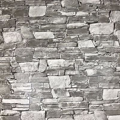 Wallpaper wallcovering textured roll grey Beige modern brick stone 3D effect 10m