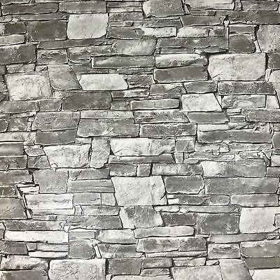 Wallpaper wallcovering textured roll grey white modern brick stone 3D effect 10m