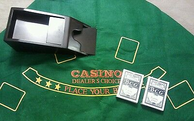 4 deck weighted brown wooden dealer's shoe and 2 Decks of Cards and green mat