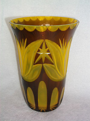 Depression Style Cut Glass Vase Two Colors Bright Yellow and Brown Layered