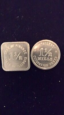 Vintage Set  1 1/2 Mills Retailers Occupation Sales Tax Token State Of Illinois