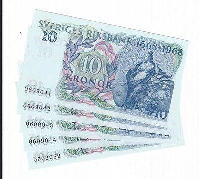 FIVE Sweden 10 Tio Krona Crowns Banknote Commemorative 1968 UNC # Sequence