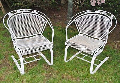 Pair of Vintage WOODARD Rockers. Mid Century Modern Wrought Iron Outdoor Chairs