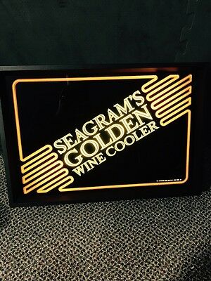 Vintage Seagram's Golden Wine Cooler 1980s Light Wall Sign Nice Condition!