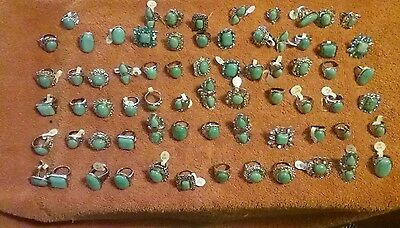 Turquoise rings-65 rings ,sold as one lot of 65 rings.