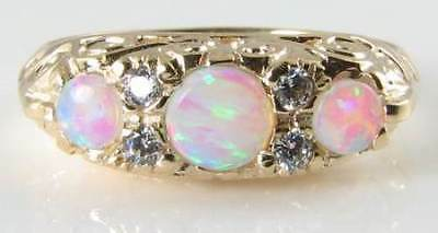 English 9K Gold Victorian Insp Aaa Opal & Diamond  Ring