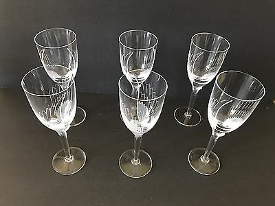 Gorgeous Set of (6) Lalique Winged Angel Champagne Flutes / Glasses