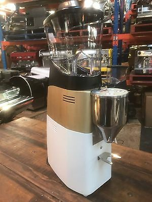 Espresso Grinder Machine Mazzer Kold Brushed Gold Matte Finish And Gloss White