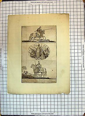 Old Print Specimen Ancient English Armour Arms Knight Horse Weapons 180G349