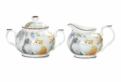 Cat Sugar & Milk Pot Set Long Haired Cats Boxed