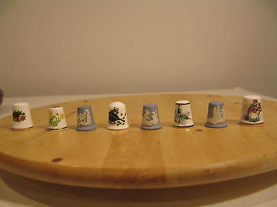 Vintage High Quality Thimble Collection (8) With Round Display Frame