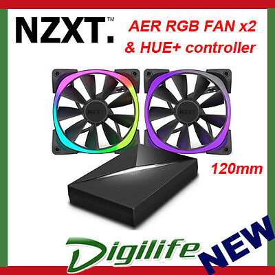 NZXT 120MM AER RGB FAN x2 & HUE+ RF-AR120-C1