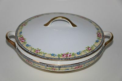 Nice Dresden Vegetable Round Covered Dish Marked S.v. China 11 26