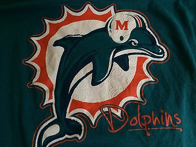 MIAMI DOLPHINS NFL Team Apparel Women's short sleeve colorful T Shirt Size Lg