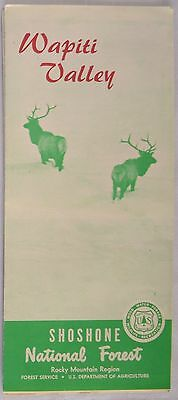 Map Vintage Wapiti Valley Circa 1970 Shoshone National Forest Wyoming Unused
