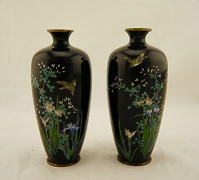 Signed Tsukamoto Pair Meiji Japanese Cloisonne silver-wire floral & bird vases
