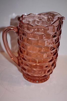 "Vintage Pink Depression Glass Cube Cut Jeannette 8"" Pitcher"