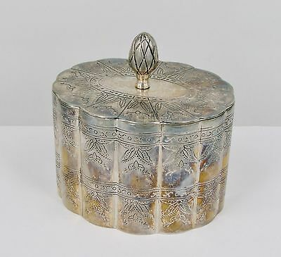 Trinket Box Vintage Ornate Hand Embossed Scalloped, Silverplate on Heavy Copper