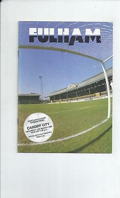 Fulham v Cardiff City Football Programme 1988/89 Autographed