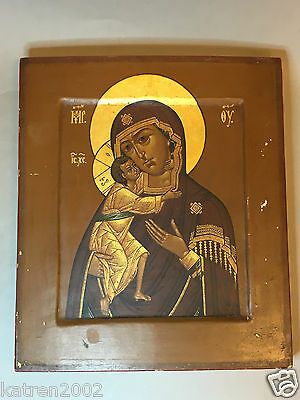 EARLY 19th CENTURY ANTIQUE RUSSIAN ORTHODOX ICON ''FEODOROVSKAYA MOTHER OF GOD''
