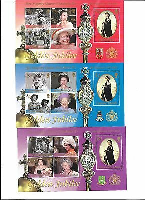 2002 (G23) Golden Wedding 3 M-Sheets Virgin Isle,cayman Isle & Gibraltar Umm Mnh