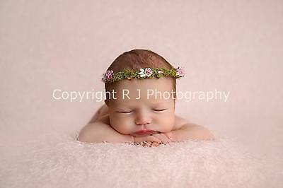 Handmade Pink Floral Halo Crown Newborn Baby Photography Photo Prop Flower Girl