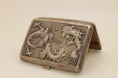 Antique Original Perfect Silver Asian Amazing Cigarette Case