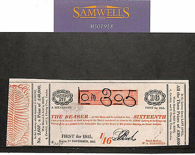 MS1918 1815 GB REVENUES 1/16 *Lottery Ticket* Bi-Coloured Issue BISH Scarce