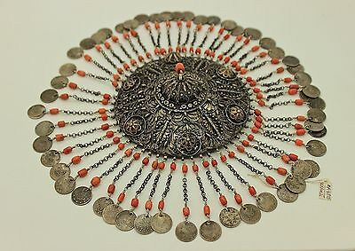 Antique Silver Ottoman Filigree And Coral Decorated Anatolian Bridal Head Piece