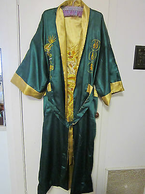 BEAUTIFUL REVERSE KIMONO DRESSING GOWN, GREEN AND GOLD SIZE XXL [approx20+
