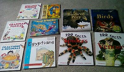 10 book bundle: Usborne Grammar Spelling Maths; 100 Fact books: Birds, Spiders