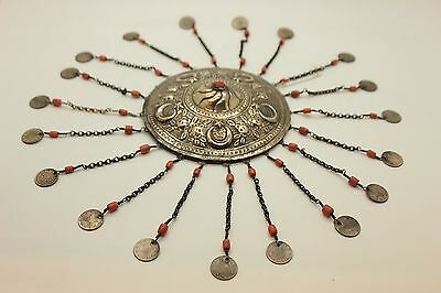 Antique Original  Silver Coral Decorated Amazing Anatolian Bridal Head Piece