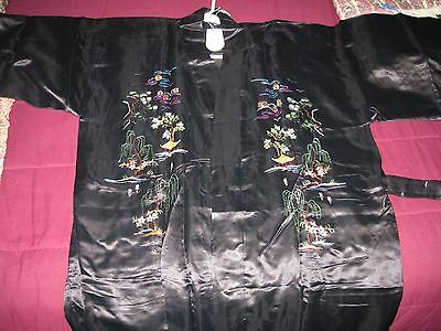 New Black Silk Golden Dragon KIMONO Size M Lined and Embroidered Great Gift NWT