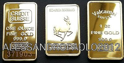 CREDIT SUISSE, VALCAMBI E GRUGERRAND ONE OUNCE IN FINE GOLD 999 PLACCATO ORO 24k