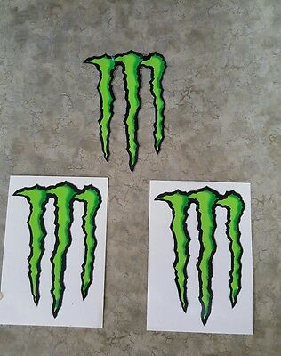 "Monster Energy Drink DECAL STICKER 4"" x 3"" lot of 2 stickers Buy more Save more!"