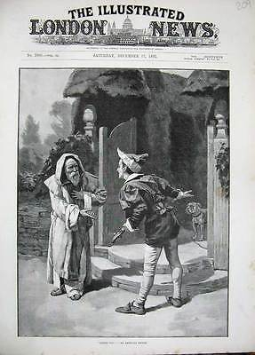 Old Antique Print 1892 Munns Fine Art Men Costumes Gate Country Dog 209N168