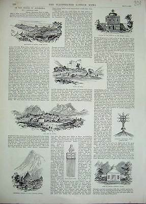 Old Antique Print 1893 Abyssinia Mountains Adowa Tomb Church Trinity 201N169