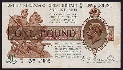 UK One Pound Banknote 1928 P-361 Treasury Note