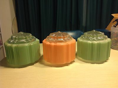 3 Art Deco Skyskraper Light Fittings Clear Diffuse Green And Peach/pink